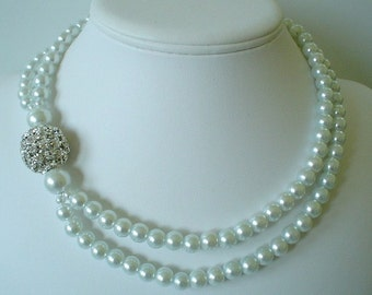 Large Rhinestone Ball with White Pearls Two Strand Bridal Necklace    Stunning Necklace for the Bride