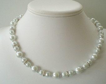 One Strand Bridal Elegance White Pearl Rhinestone and Swarovski Beaded Necklace Set