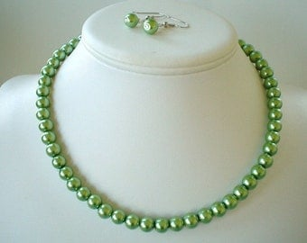 Single Strand Olive Green Pearl Beaded Necklace and Earring Set    Great Brides or Bridesmaid Gifts