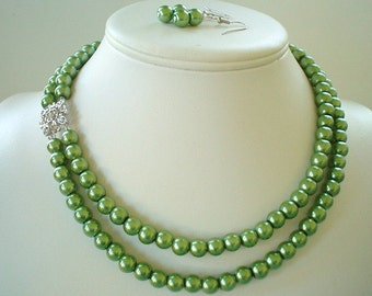 Two Strand Olive Green Pearl with Rhinestone Square Pendant Beaded Necklace and Earring Set    Great Brides or Bridesmaid Gifts
