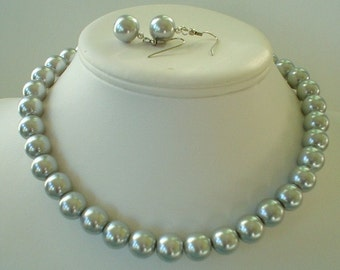 50%off Chunky Silver Glass Pearl Beaded Necklace Set     Great for Bridesmaid Gifts