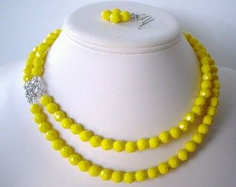 Two Strand Canary Yellow Glass and Rhinestone Square Pendant Beaded Necklace and Earring Set    Great Brides or Bridesmaid Gifts