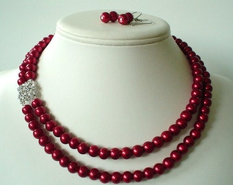 Two Strand Dark Red  Pearl with Rhinestone Square Pendant Beaded Necklace and Earring Set