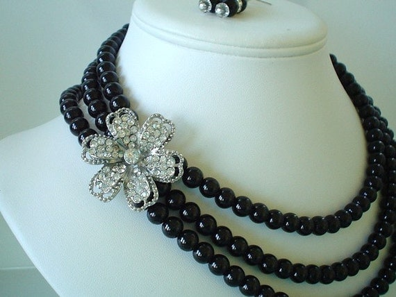 Three Strand Large Rhinestone Flower Pendant with Black Pearls Beaded Necklace Set   Great for the Bride