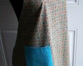 Apron - Vintage Style - Taupe Turquoise Orange - Vintage Fabric