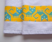 Kitchen Towels - White with Vintage Yellow Kitty Cat Fabric