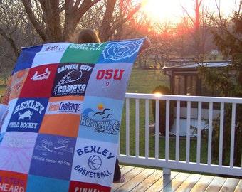 Custom Stadium Blanket - T Shirt Memory Quilt  - 20 Block Design -  Blanket