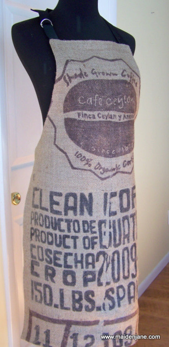 Coffee Bag Apron - Upcycled Coffee Sack - Butcher Syle - Unisex - Clean Coffee
