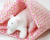 Pink and White Daisy Cotton Fabric Crinkle Sack for Ferrets