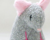 Handmade Stuffed Gray Rat Pet Toy with Rattle