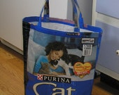 Upcycled Reusable market grocery bag compliments of Cat Chow cat food