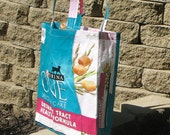 Upcycled Reusable market grocery bag for cat lovers