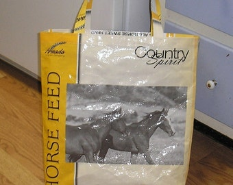 Upcycled Reusable market grocery bag compliments of Horse Feed Bag