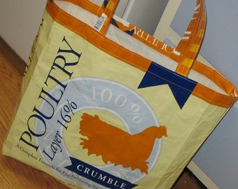 Upcycled Reusable market grocery bag for chicken folks