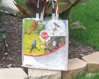 Upcycled Reusable market grocery tote bag for bird lovers