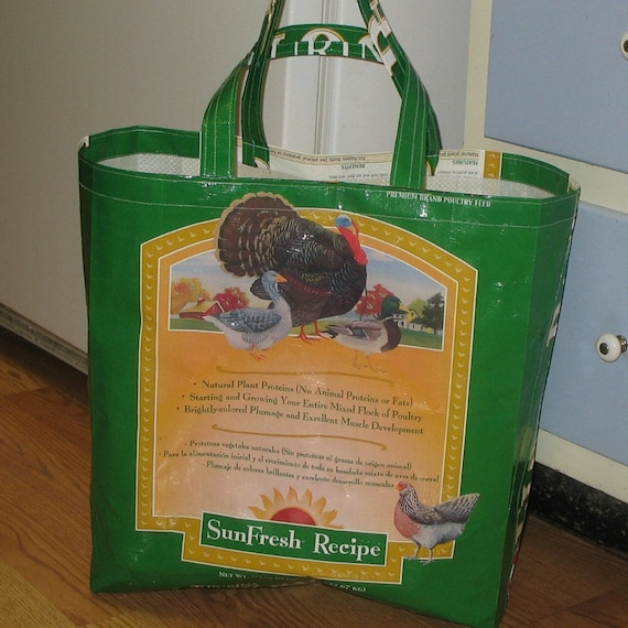 Upcycled Reusable market grocery tote bag for turkey lovers