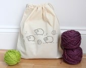 Sheep Knitting Group with yarn balls - Knitting or Crochet Project Bag