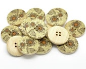 Khaki and Pumkin Wooden Buttons 30mm - Natural wood flowers pattern painting sewing button set of 6  (BB105L)