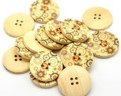 Orange Olive and Green Flower Pattern Wood Sewing Buttons 30mm - Natural wooden button set of 6  #BB105K