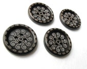 8 Dark Brown Scroll wood button 25mm  (BB108C)