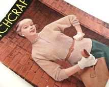 Vintage Stitchcraft Magazine August 1954 Knitting and Embroidery pattern book