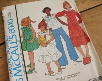 McCall's 6040 Pattern for girl's dress or top, uncut