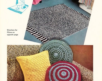 Pillows and Bathroom rug - Vintage PDF Crochet Pattern - instant download
