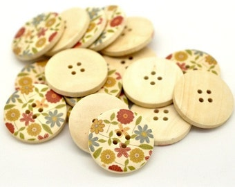 Country Flower Pattern Wooden Sewing Buttons 30mm - set of 6 natural wood button  (BB105F)