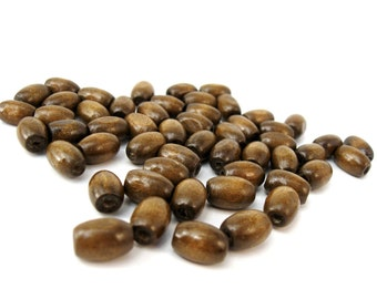 Wood oval beads - Chocolate Brown Natural Wooden Dye Beads 12x8mm - 50pcs  (PB208C)