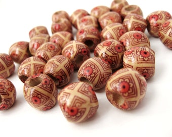 Painted Wood round beads - Light Coffee with flowers Natural Wooden Drum Beads 12x11mm - 30pcs  (PB220C)