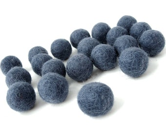 Felt Balls Blue - 20 Pure Wool Beads 20mm - Midnight Blue Shade -   (W208B)