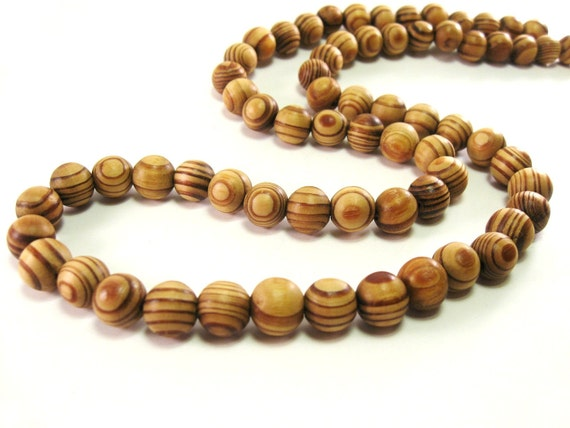 Stripped Beads Natural Wood Brown 12mm round 20pcs  (PB209A)