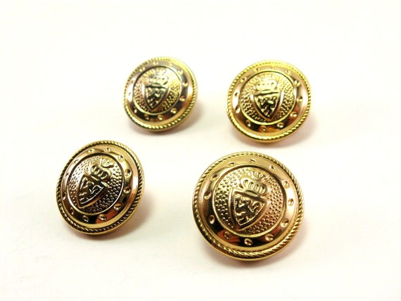 Gold Shank Buttons Vintage Coat of Arms