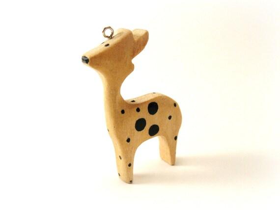 Deer Wood Pendant Natural Charm  (PB227)