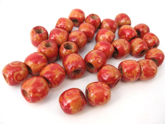 Asian Wood beads - Red flower pattern Wooden Drum round Beads 12x11mm - 30pcs (PB220D)