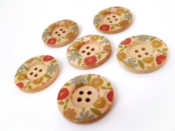 Multicolor Flower Pattern Wooden Sewing Buttons 30mm - set of 6 natural wood button  (BB105D)