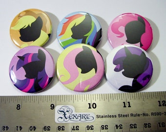 My Little Pony (FIM) Pinback Buttons Friendship is Magic set 1 (6 buttons)
