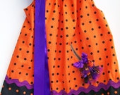 Witches broom halloween dress orange and purple