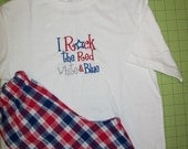 4TH of July boys T shirt and shorts I rock the red white and blue
