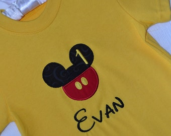 Mickey Mouse Yellow T Shirt and Name