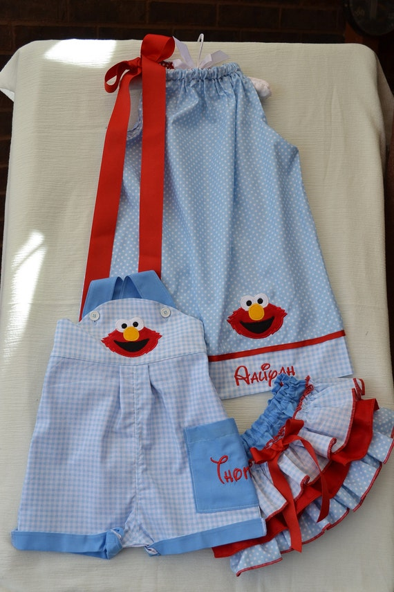 Elmo jon jon pillowcase dress and bloomers brother sister outfits