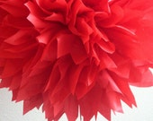 RUBY RED / 1 tissue paper pom pom / wedding decoration / ruby wedding anniversary / chinese new year / red decorations / 4th of July bbq