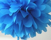 BRILLIANT BLUE / 1 tissue paper pom pom / graduation party / wedding decor / diy / paper pom flowers / blue decorations / 4th of July bbq