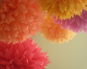 PUNCH / 5 tissue paper poms / wedding decorations / birthday party decor / nursery decorations / diy  / paper pompom / hanging decorations