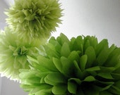 GREENS ... 3 tissue paper poms // diy // wedding reception // baby shower // birthday // party decorations