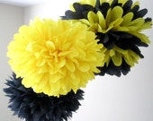 BUMBLE BEE / 3 tissue paper poms / bumble bee birthday / nursery decor / party decorations / yellow and black decoration / bee theme