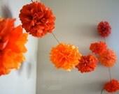 ORANGE MIX / diy tissue paper pom pom garland / nursery decoration / wedding decorations / birthday party decor / orange decorations