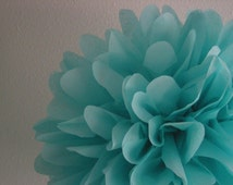 AQUA / 1 tissue paper pom pom / wedding decorations / diy /  birthday party decorations / pompoms / aqua decorations / pom decor / paper pom