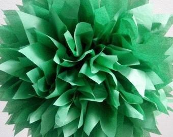 DARK GREEN / 1 tissue paper pom pom / wedding decorations / holiday party decor / st patricks day / dark green decorations / diy / pompoms