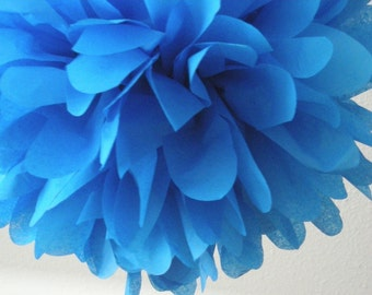 BRILLIANT BLUE / 1 tissue paper pom pom / graduation party / wedding decor / diy / paper pom flowers / blue decorations / 4th of July bbq